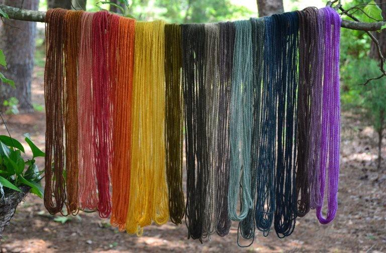 Mushroom and lichen dyed yarn by Alissa Allen