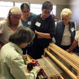 Lisa Trujillo teaching Chimayo weaving