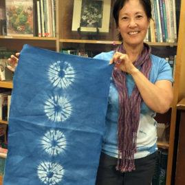 Shibori design dyed with indigo