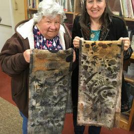 Bev and Sofia's eco-print shawls