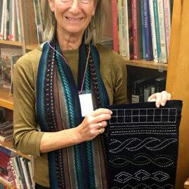 Terri's supplemental warp scarf and sashiko piece