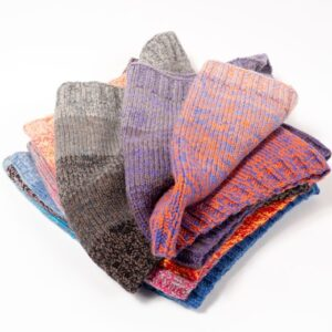 Colored yarns knitted into squares